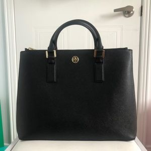 Tory Burch Black Saffiano Tote Bag